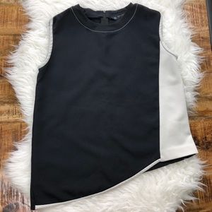 Zara Black Light Gray Asymmetric Tank Top Blouse